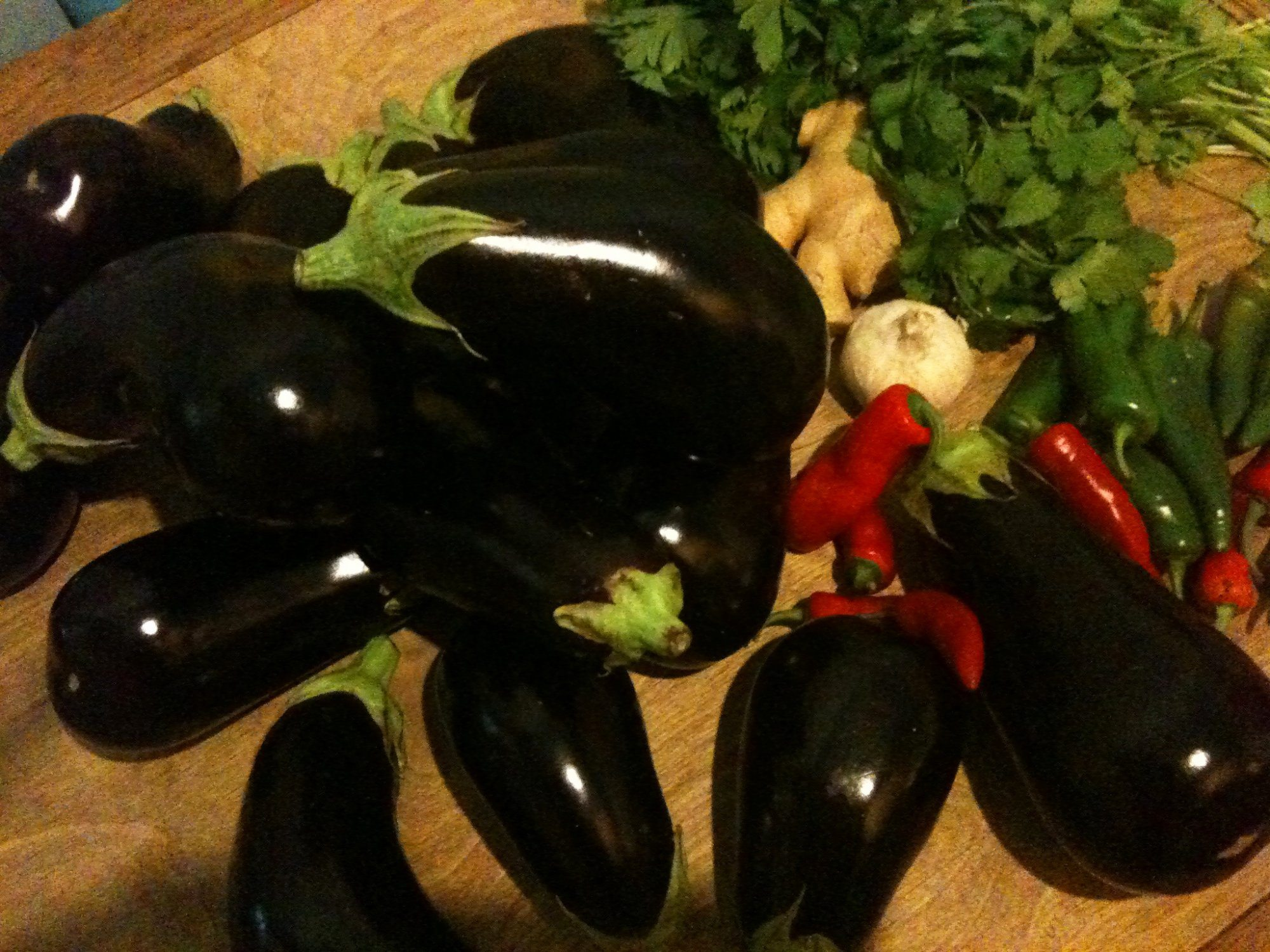 Aubergines, Ginger, Garlic, Chillies